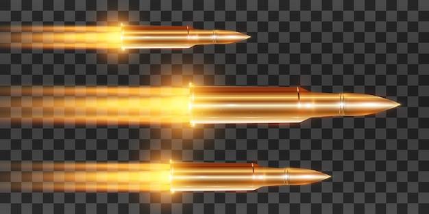 透明な背景で撮影された火炎放射器で現実的な飛んでいる弾丸、モーション、イラストの弾丸ショットのセット。ピストルで撃つ