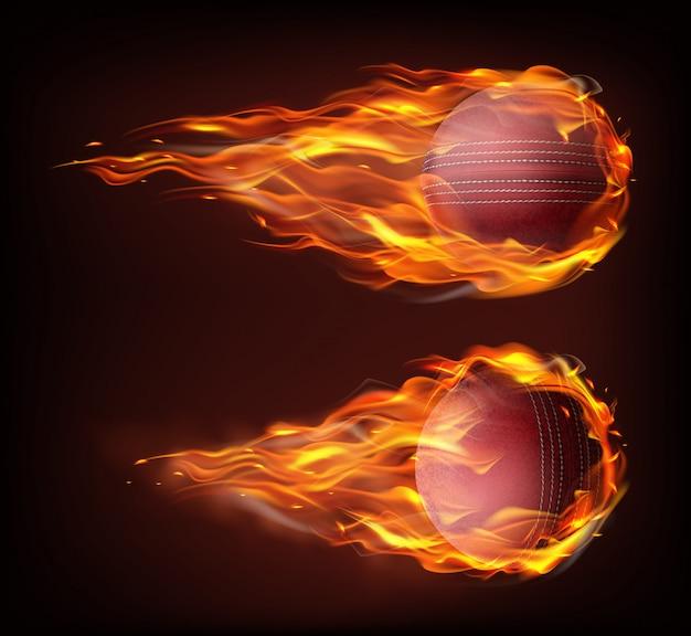 Palla da cricket volante realistica nel fuoco