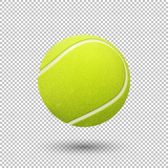 Realistic flying tennis ball closeup isolated