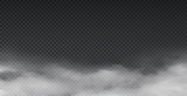 Реалистичный туман. атмосферный эффект тумана и рамка дымовых облаков, изолированные на прозрачном фоне. вектор пыли и почвы порошок окружающей среды, абстрактные текстуры облака