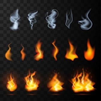 透明な背景に分離された現実的な霧、煙、火の炎セット。特殊効果のミスト、蒸気またはスモッグ、デザインおよび装飾用の非常に熱い光のコレクション。図
