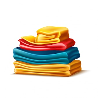 Realistic folded apparel or towel pile