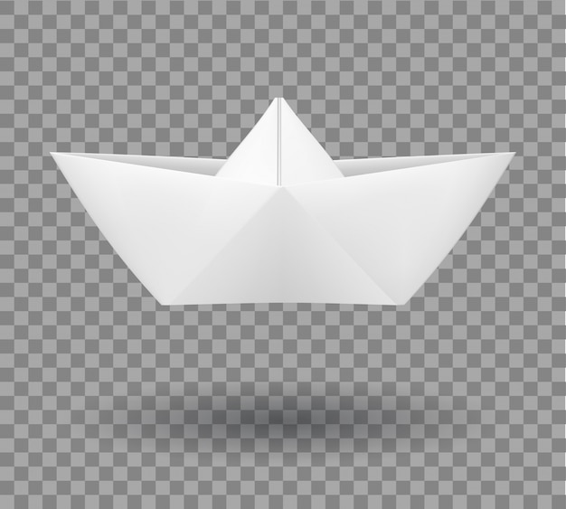 Realistic folded paper boat in origami style.