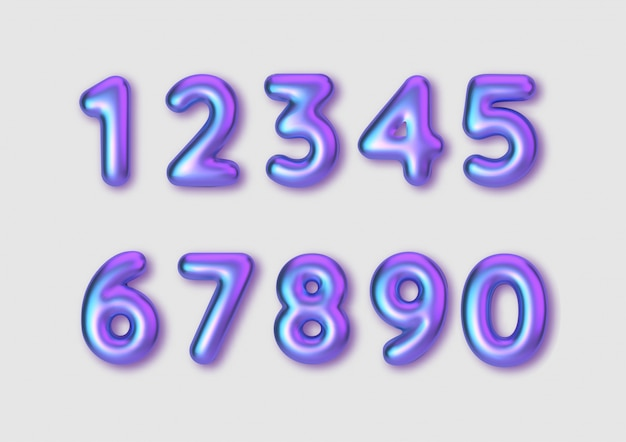 Realistic font color numbers