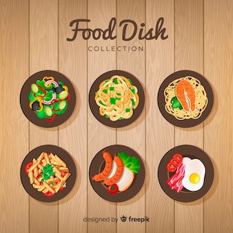 Realistic food dish collection