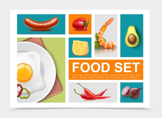 Raccolta di elementi di cibo realistico con uovo frittata salsiccia pepe formaggio cipolla avocado isolato