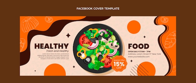 Realistic food facebook cover template