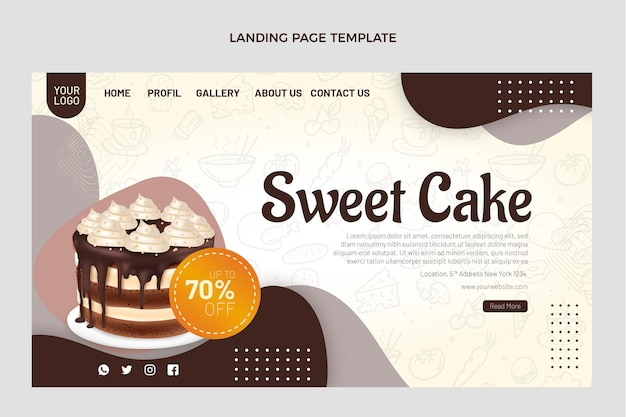 Realistic food landing page