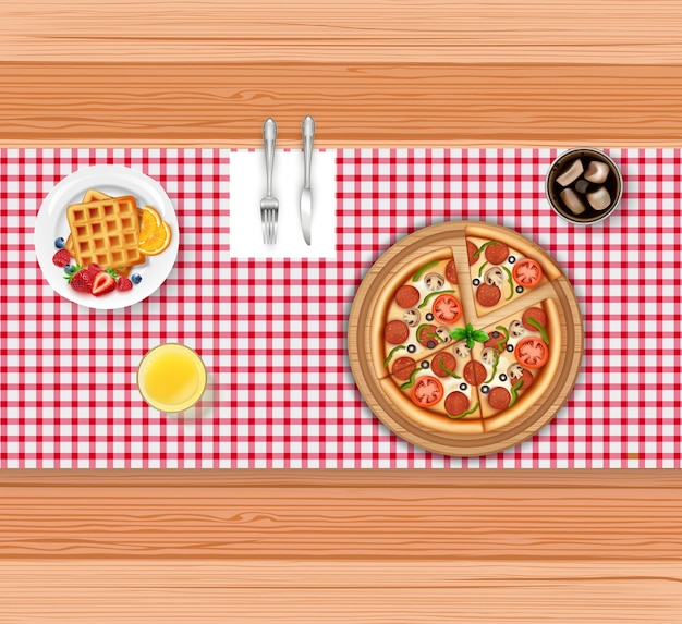 Realistic food menu with pizza and waffle on wooden table