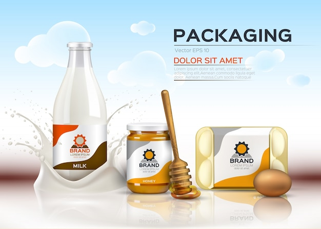 Realistic food products milk and honey bottles, eggs packaging