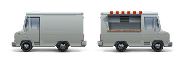 현실적인 푸드트럭. 기업 아이덴티티를 위한 아이스크림 피자와 길거리 음식 흰색 트레일러, 열린 창문이 있는 바퀴 달린 이동식 주방. 벡터 설정 격리 된 모바일 트럭 익스프레스 식사
