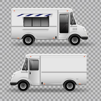 Realistic food truck. view from side.