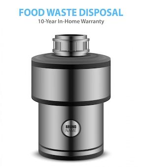 Smaltitore realistico dei rifiuti alimentari di colore grigio per la casa isolato su bianco