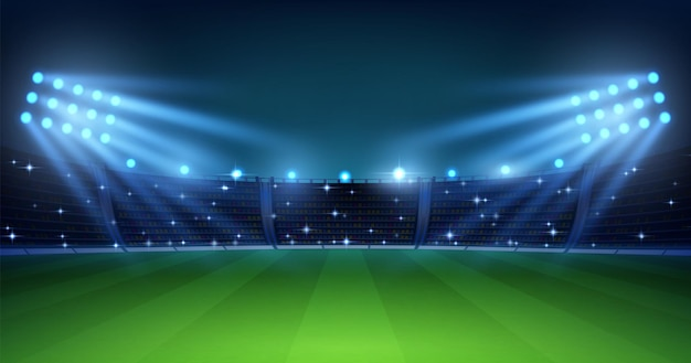 Realistic football arena. soccer playing field at night with illuminate bright stadium lights, green grass and tribunes. vector illustration background for football championship or match team