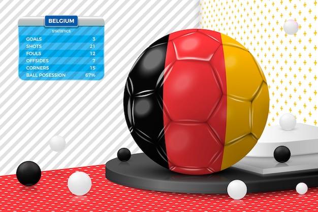 Реалистичный футбольный мяч с флагом бельгии