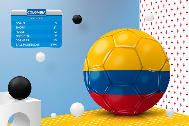 Realistic football ball with colombia flag