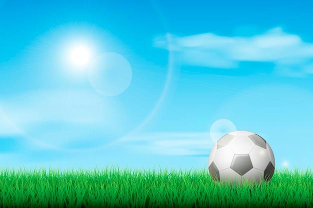 ボールと現実的なサッカー場の背景