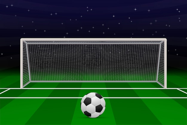 Realistic football goal on soccer field.