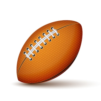Realistic football or rugby ball icon isolated