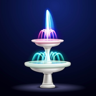 Realistic fountain with neon lights