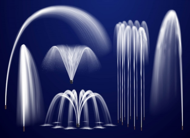 Realistic fountains on blue background set