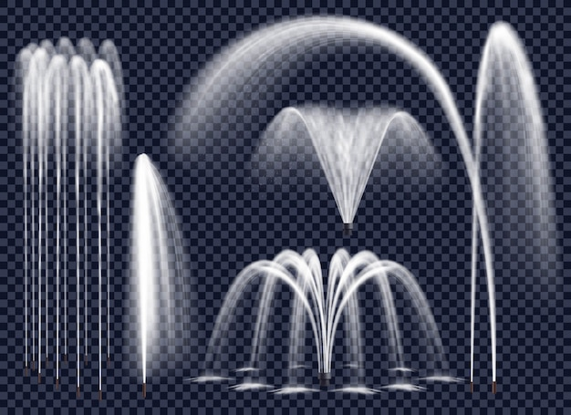 투명 한 배경 세트에 현실적인 분수 무료 벡터