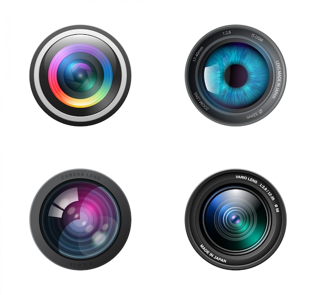 Realistic four camera lenses icon
