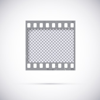 Realistic frame of 35 mm filmstrip. empty blanck photo negative film template. on white background