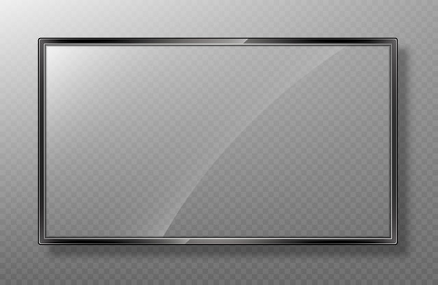Realistic frame of tv screen mockup.