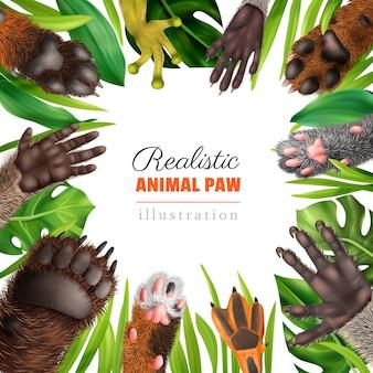Реалистичная рамка с милыми лапами животных на фоне рамки с зелеными листьями