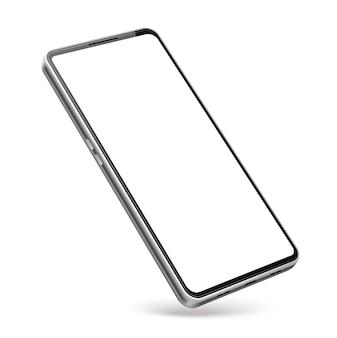 リアルなフレームレススマートフォン。空白の現代の電話テンプレート。