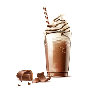 Realistic frappe coffee in plastic cup with straw