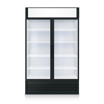 Realistic freezer template with transparent door and glass