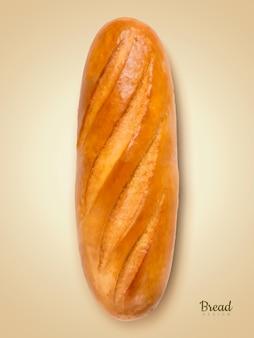 リアルなフランスパン、ベージュの背景のイラストでおいしいパンの要素