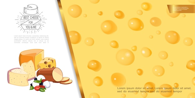 Realistic fresh cheese background
