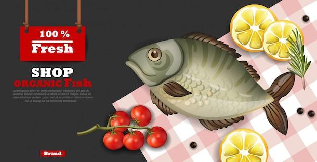 Realistic fresh fish card template