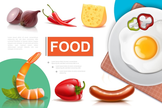 Realistic fresh food composition with egg omelette on plate onion pepper sausages cheese