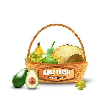 Realistic fresh fruits in wicker basket isolated