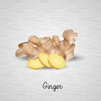 Realistic fresh ginger and slices illustration
