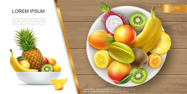 Realistic fresh healthy summer food concept with plate of banana kiwi mango pineapple kumquat carambola dragon fruits and their slices  illustration