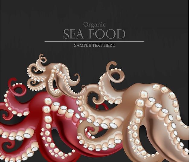 Realistic fresh octopus sea food