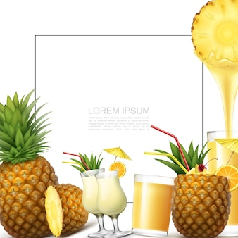 Realistic fresh pineapple fruit template with frame for text pina colada cocktails glasses of natural healthy juice