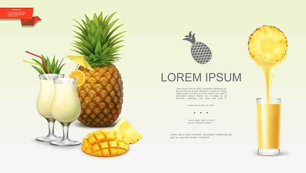 Realistic fresh tasty pineapple  with tropical fruit slices pina colada cocktails and glass of natural juice