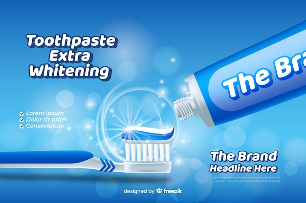 Realistic fresh toothpaste poster ad