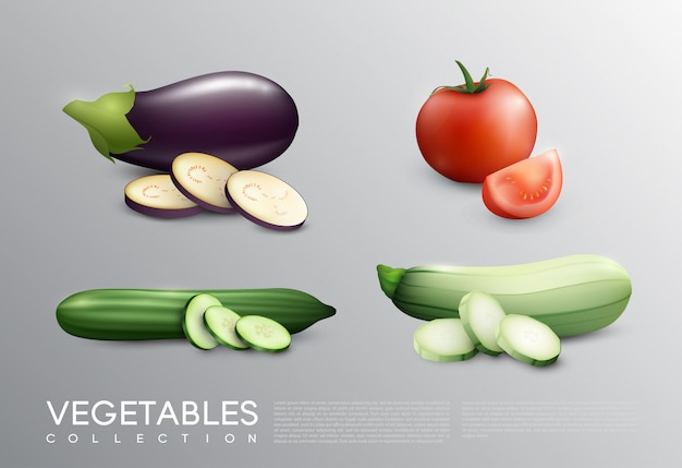 Realistic fresh vegetables set