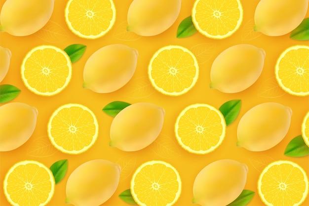 Realistic fresh yellow lemons background Premium Vector