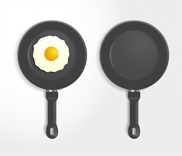 Realistic  fried egg on frying pan top view