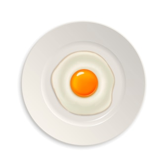 Реалистичные жареное яйцо значок на тарелку. шаблон.
