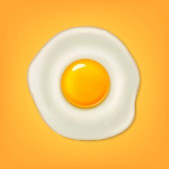 Реалистичные жареное яйцо значок на желтом фоне. шаблон.