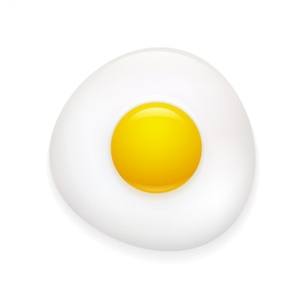 Realistic fried egg icon